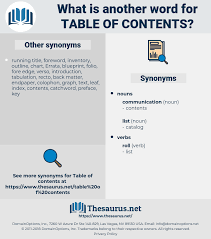 Table Chart Synonym Synonyms For Table Of Contents Thesaurus Net