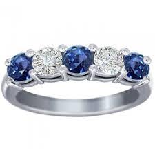1 00 Ct Round Cut Diamond And Blue Sapphire Wedding Band Ring