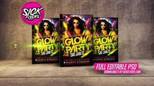 glow flyer glow party flyer template youtube