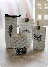 old book turned into gift bags by craft creativity