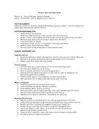 Store Manager Job Description Resume Grocery Store Resume Example Sidemcicek 96