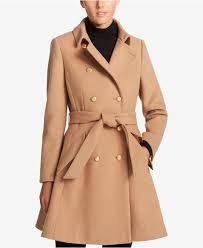 dkny women s brown wool blend belted fit flare peacoat