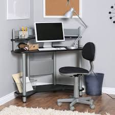 Furniture: Modern Computer Corner Desk For Small Spaces With Black Rolling  Chair - Laptop Computer