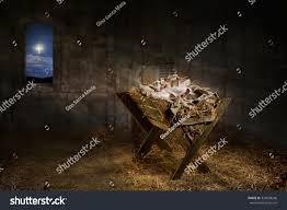 Manger Light Jesus Resting On Manger While Light Stock Photo Edit Now