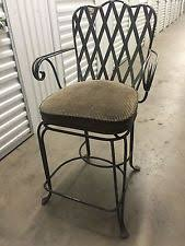 wrought iron bar chairs. **Three Wrought Iron Swivel Counter Height Bar Stools W/Arms** Chairs