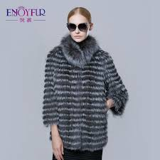 enjoyfur new real silver fox fur strip coat for winter women outwear fur jacket 2016 russian high end female real fur coat
