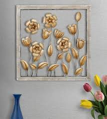 gold metal flower wall decor with