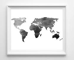 zoom on black white wall art deco with watercolor world map print printable black white wall art etsy
