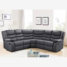 Living Room Furniture Belfast Corner Sofa With Recliner In Grey Bonded Leather