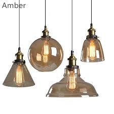 vintage pendant lights cord glass