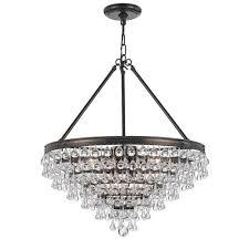 crystorama lighting group calypso vibrant bronze eight light chandelier with teardrop crystal