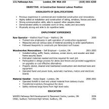 Resume Cover Letter General Labor Adriangatton Com