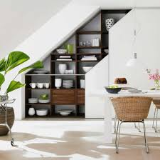 Kitchen:Simple Kitchen Under Stair Decor With L Shape Contemporary White  Kitchen Cabinet And Grey