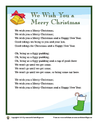Lyrics for We Wish You a Merry Christmas – Worksheet Village