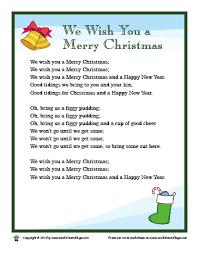 Lyrics for We Wish You a Merry Christmas – Worksheet Village