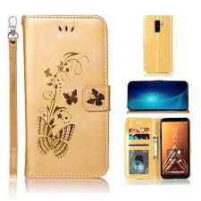 Flip Cover For Samsung Galaxy J8 2018 Case <b>Gold</b> stamp <b>Golden</b> ...
