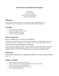 Government Job Resume Template Resume Templates Government Jobs