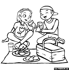 Small Picture Picnic Coloring Page Free Picnic Online Coloring