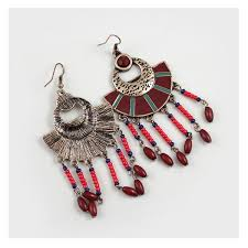 whole dark red beaded big statement chandelier earrings yiwus