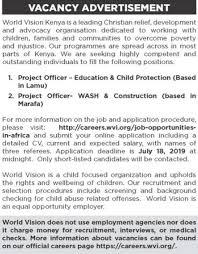 Project Officer Cv World Vision Kenya Project Officer Jobs Jobspot Kenya