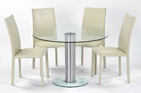 round glass top table with silver steel stand combined broken white leather chairs and back dining