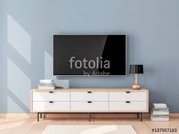 smart tv mockup with blank screen hanging on the wall in modern living room 3d rendering