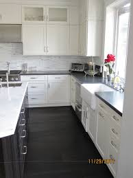 White Kitchens Dark Floors White Cabinets With Dark Granite And Wood Floors Kitchen