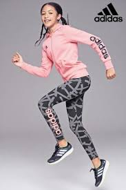 adidas girls. adidas black printed linear legging girls a