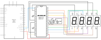 how to control a digit segment led display a max chip max7219 circuit