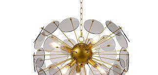 rivet modern soft gold sputnik 6 light chandelier 17 with led bulbs smoke glass petals 176 98