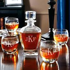 personalized crystal whiskey decanter set custom dr monogrammed with rocks