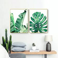 banana leaf wall art canvas painting green leaf wall art home decor picture green plant lotus banana leaf poster living room bedroom decor in painting
