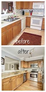 Light Grey Kitchen Walls With Oak Cabinets Loves The Find Blog Before And After Diy Kitchen Wallpaper