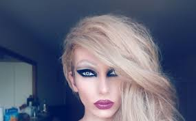 wearing wig and full woman make up