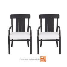Hampton Bay Oak Heights Stationary Patio Dining Chair with Cushion