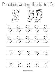 Small Picture Practice writing the letter S Coloring Page Twisty Noodle