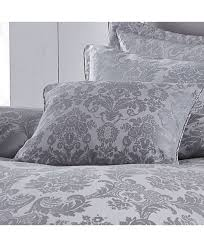 damask jacquard cushion set silver catherine lansfield roll over image to zoom in