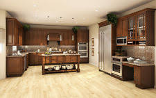 All Solid Wood Kitchen Cabinets 10x10 FULLY ASSEMBLED Wellington Stained  Birch