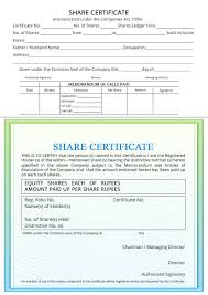 Share Certificate Indiafilings