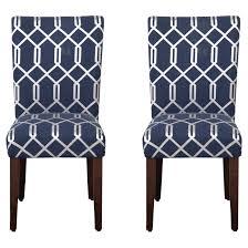 parson dining chair wood navy blue lattice set of 2 homepop