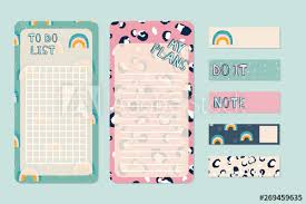 Cute Lists Cute To Do Lists And Stickers With Fashion Pattern Vector