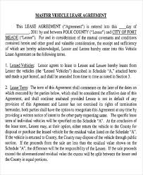 Vehicle Lease Agreement Sample 7 Master Lease Agreement Sample Examples In Word Pdf