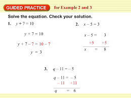 guided practice for example 2 and 3 solve the equation check your solution