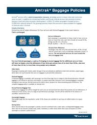Amtrak Designated Baggage Areas Baggage Policy Fact Sheet Amtrak Media