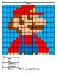 Retro Mario Color By Number Coloring Squared