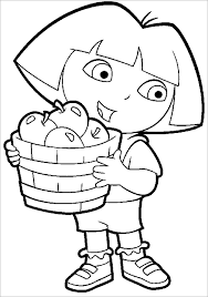 Dora with Fruits Basket Coloring Page fruit basket coloring pages printable printable coloring pages on coloring pages of fruits in a basket