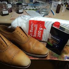 when you have finished stripping the shoes you should not have any areas that appear glossy as the picture below