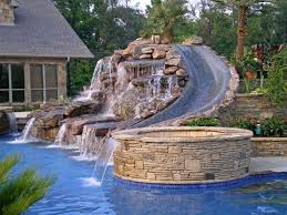 inground pools with waterfalls and hot tubs.  Waterfalls Slides For Inground Pools Ground Swimming Pool Costs With Waterfalls And Hot Tubs E