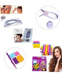 pack of 2 slique face hair threading 18 pcs magic leverage hair curlers