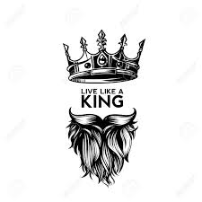 King Design Logo King Crown Moustache And Beard On White Background Logo With